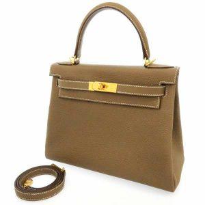 ケリー28 内縫い エトゥープ/ゴールド金具 トゴ D刻印 2wayバッグ