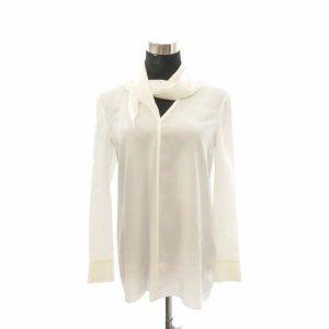 エルメス ブラウス シルク ホワイト レディースサイズ34 長袖シャツ