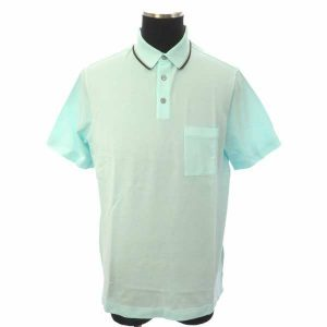 ポロシャツ Polo col surpiqure Sellier Hロゴ アクアカラー メンズサイズXL