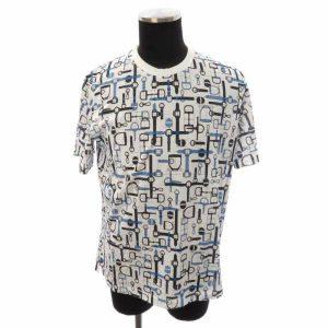 Tシャツ ホースビット ベルト柄 ホワイト×ブルー メンズサイズL