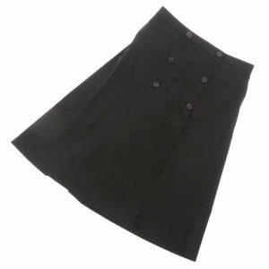 エルメス パンツスカート ウール ブラック ラップスカート風 キュロット